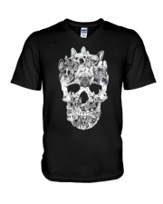 French Bulldog Skull V-Neck T-Shirt thumbnail