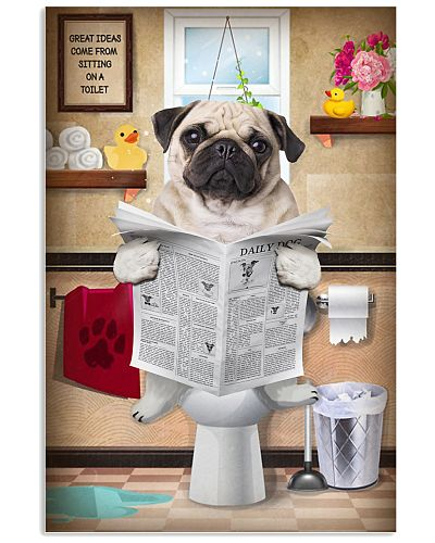 Pug Bathroom Poster