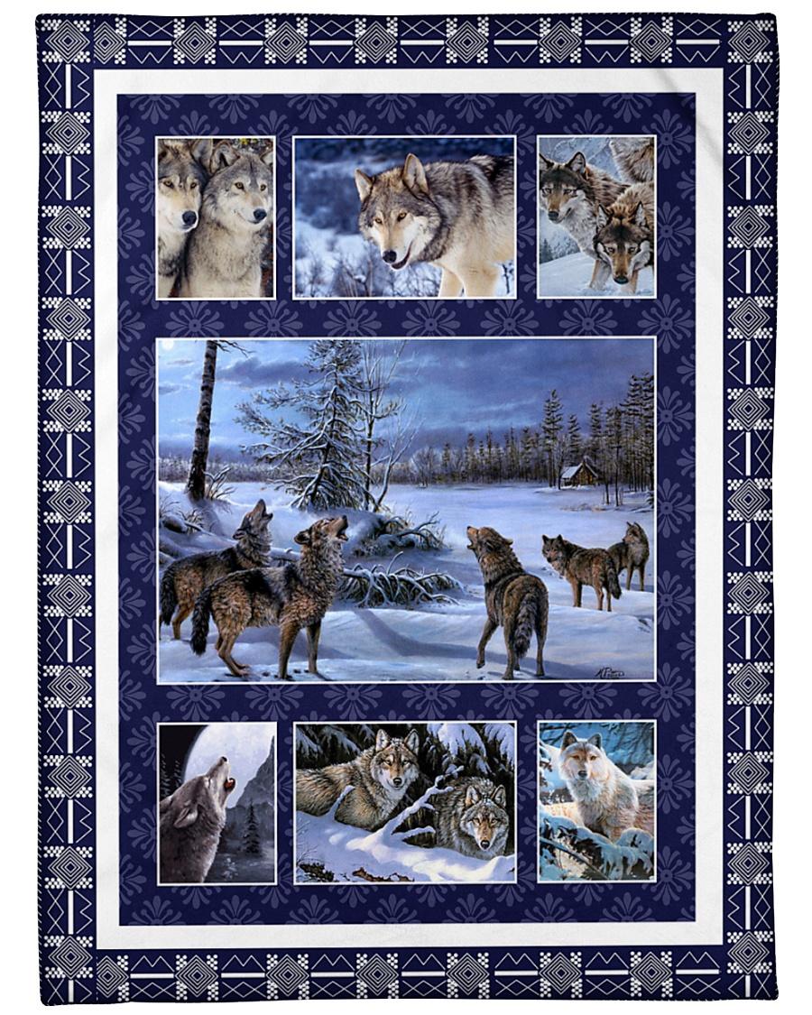 "Wolf Funny Blanket Winter Graphic Design Large Fleece Blanket - 60"" x 80"""