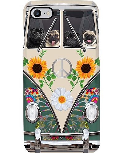 Pug Hippie Bus Phonecase