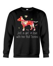 A Girl Love Bull Terrier Crewneck Sweatshirt thumbnail