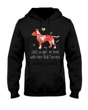 A Girl Love Bull Terrier Hooded Sweatshirt front