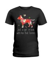 A Girl Love Bull Terrier Ladies T-Shirt thumbnail