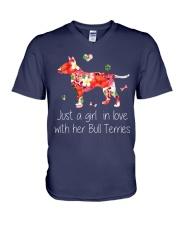 A Girl Love Bull Terrier V-Neck T-Shirt thumbnail