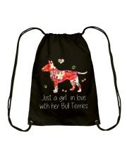 A Girl Love Bull Terrier Drawstring Bag thumbnail