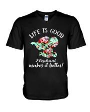 Life Is Good Elephant Makes It Better V-Neck T-Shirt thumbnail