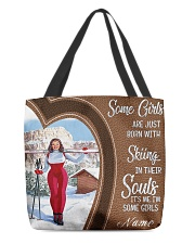 Skiing girl born custom tote lqt-ngt All-over Tote back