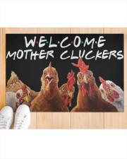 """WELCOME MOTHER CLUCKERS Doormat 22.5"""" x 15""""  aos-doormat-22-5x15-lifestyle-front-03"""