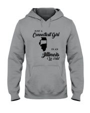 JUST A CONNECTICUT GIRL IN An ILLINOIS WORLD Hooded Sweatshirt tile