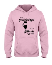 JUST A CONNECTICUT GIRL IN An ILLINOIS WORLD Hooded Sweatshirt front