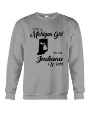 JUST A MICHIGAN GIRL IN An INDIANA WORLD Crewneck Sweatshirt thumbnail
