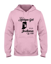 JUST A MICHIGAN GIRL IN An INDIANA WORLD Hooded Sweatshirt front