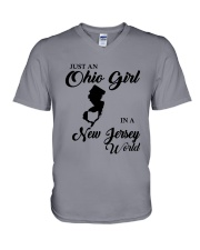 JUST An OHIO GIRL IN A NEW JERSEY WORLD V-Neck T-Shirt thumbnail
