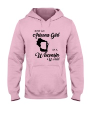 JUST AN ARIZONA GIRL IN A WISCONSIN WORLD Hooded Sweatshirt front