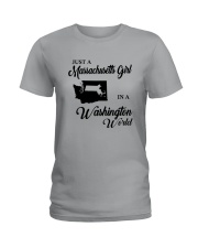 JUST A MASSACHUSETTS GIRL IN A WASHINGTON WORLD Ladies T-Shirt tile