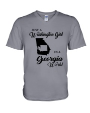 JUST A WASHINGTON GIRL IN A GEORGIA WORLD V-Neck T-Shirt thumbnail