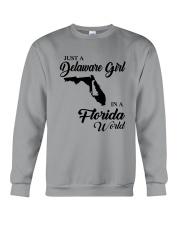 JUST A DELAWARE GIRL IN A FLORIDA WORLD Crewneck Sweatshirt thumbnail