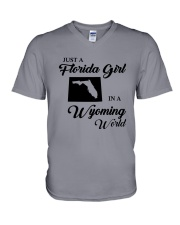 JUST A FLORIDA GIRL IN A WYOMING WORLD V-Neck T-Shirt thumbnail