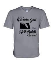 JUST A FLORIDA GIRL IN A NORTH DAKOTA WORLD V-Neck T-Shirt thumbnail