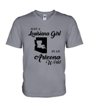 JUST A LOUISIANA GIRL IN AN ARIZONA WORLD V-Neck T-Shirt thumbnail