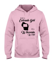 JUST A COLORADO GIRL IN A WISCONSIN WORLD Hooded Sweatshirt front