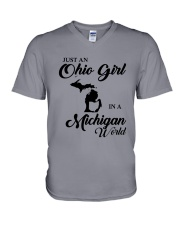 JUST An OHIO GIRL IN A MICHIGAN WORLD V-Neck T-Shirt thumbnail
