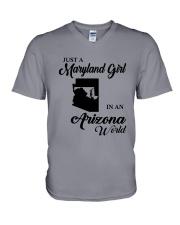 JUST A MARYLAND GIRL IN An ARIZONA WORLD V-Neck T-Shirt thumbnail