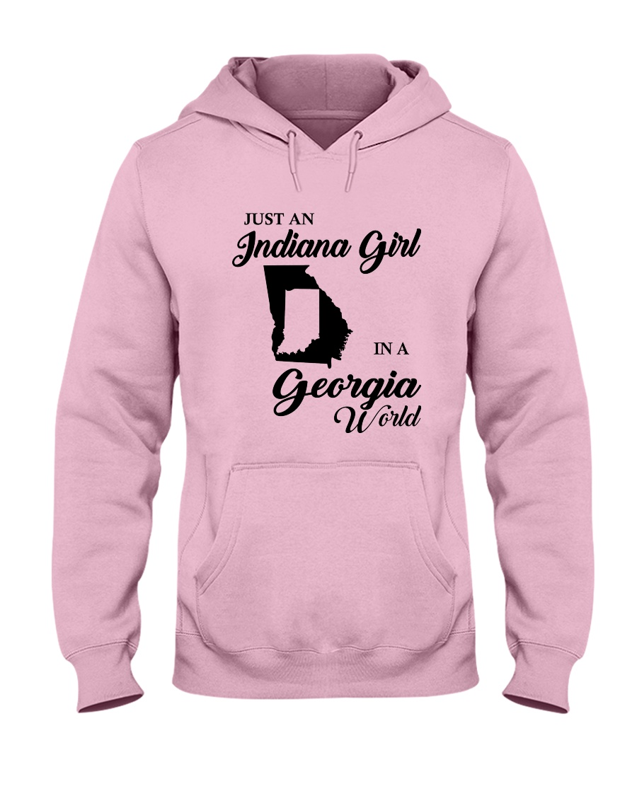 JUST AN INDIANA GIRL IN A GEORGIA WORLD Hooded Sweatshirt