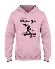 JUST A FLORIDA GIRL IN A MICHIGAN WORLD Hooded Sweatshirt front