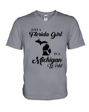 JUST A FLORIDA GIRL IN A MICHIGAN WORLD V-Neck T-Shirt thumbnail