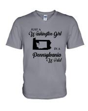 JUST A WASHINGTON GIRL IN A PENNSYLVANIA WORLD V-Neck T-Shirt thumbnail