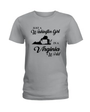 JUST A WASHINGTON GIRL IN A VIRGINIA WORLD Ladies T-Shirt tile
