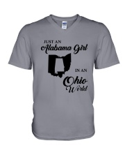 JUST AN ALABAMA GIRL IN AN OHIO WORLD V-Neck T-Shirt thumbnail