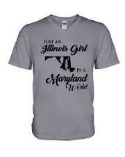 JUST AN ILLINOIS GIRL IN A MARYLAND WORLD V-Neck T-Shirt thumbnail