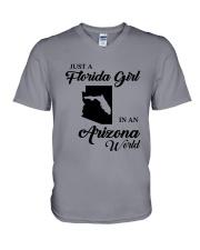 JUST A FLORIDA GIRL IN AN ARIZONA WORLD V-Neck T-Shirt thumbnail