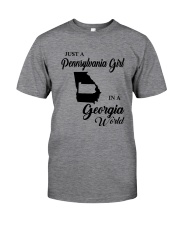 JUST A PENNSYLVANIA GIRL IN A GEORGIA WORLD Classic T-Shirt thumbnail