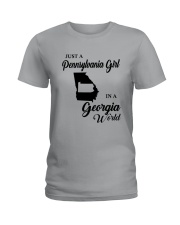 JUST A PENNSYLVANIA GIRL IN A GEORGIA WORLD Ladies T-Shirt thumbnail