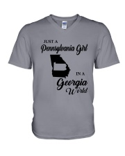 JUST A PENNSYLVANIA GIRL IN A GEORGIA WORLD V-Neck T-Shirt thumbnail