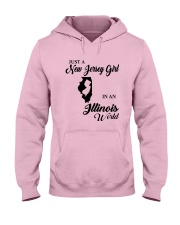 JUST A NEW JERSEY GIRL IN An ILLINOIS WORLD Hooded Sweatshirt front
