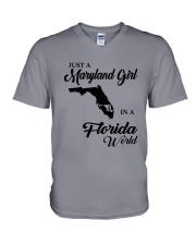 JUST A MARYLAND GIRL IN A FLORIDA WORLD V-Neck T-Shirt thumbnail