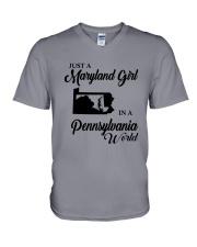 JUST A MARYLAND GIRL IN A PENNSYLVANIA WORLD V-Neck T-Shirt thumbnail