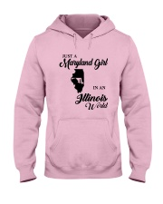 JUST A MARYLAND GIRL IN An ILLINOIS WORLD Hooded Sweatshirt front
