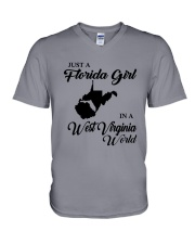 JUST A FLORIDA GIRL IN A WEST VIRGINIA WORLD V-Neck T-Shirt thumbnail