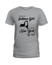 JUST AN INDIANA GIRL IN A NEW YORK WORLD Ladies T-Shirt thumbnail