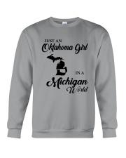 JUST AN OKLAHOMA GIRL IN A MICHIGAN WORLD Crewneck Sweatshirt thumbnail
