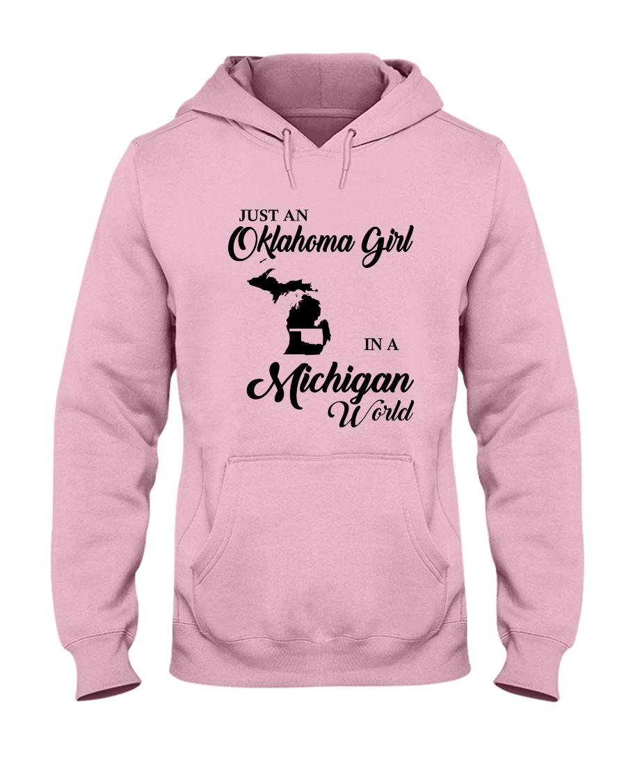 JUST AN OKLAHOMA GIRL IN A MICHIGAN WORLD Hooded Sweatshirt