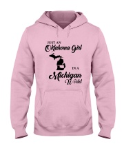 JUST AN OKLAHOMA GIRL IN A MICHIGAN WORLD Hooded Sweatshirt front