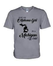 JUST AN OKLAHOMA GIRL IN A MICHIGAN WORLD V-Neck T-Shirt thumbnail