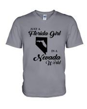 JUST A FLORIDA GIRL IN A NEVADA WORLD V-Neck T-Shirt thumbnail