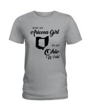 JUST AN ARIZONA GIRL IN AN OHIO WORLD Ladies T-Shirt thumbnail